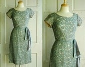 RESERVED FOR Phoebuys / Vintage 50s Cocktail Dress / 1950s Blue Lace Dress