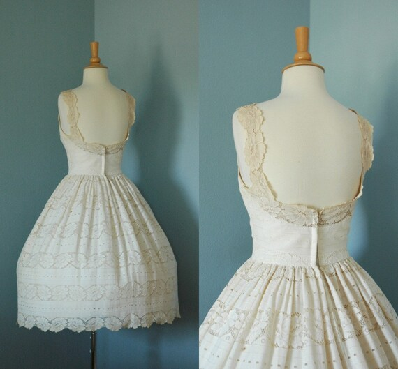 1950s Vanilla Lace Party Dress / Edward Abbott Formal