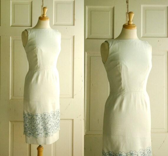 Vintage Spring Dress / 1960s White Blue Dress