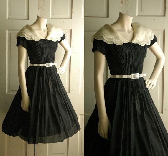 1960s Sheer Cotton Day Dress / Vintage Black  Parnes Feinstein