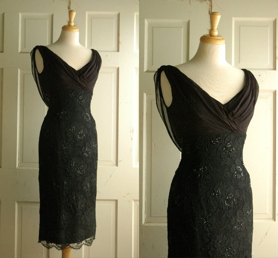 1960s Cocktail Dress Vintage Black Beaumelle Bombshell