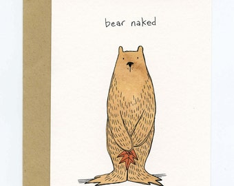Greeting Card with Original Illustration - Bear Naked