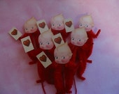 Vintage Style Feather Tree Valentine Kewpie Ornaments