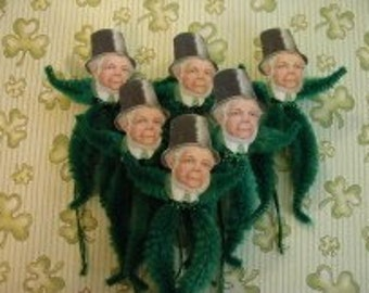Vintage Style Feather Tree Ornaments St. Patricks Leprechaun