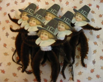 Vintage Style Feather Tree Thanksgiving Pilgrim Ornaments