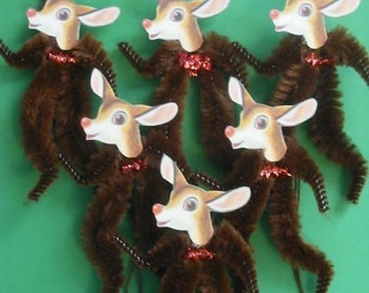 Vintage Style Feather Tree Ornaments Christmas Reindeer