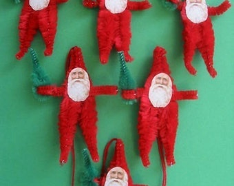 Vintage Style Feather Tree Ornaments Santa with tree