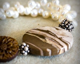 Brown Zebra Bracelet Jasper and Pearl Carved Wood Daisy Cream Sterling Silver