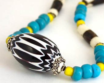 Ethnic Neon necklace Trade Bead Yellow blue Handmade Long adjustable Boho Chevron Zig Zag Turquoise African