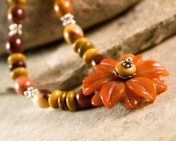Daisy Autumn Necklace moukaite jasper carnelian boho chic semiprecious OOAK
