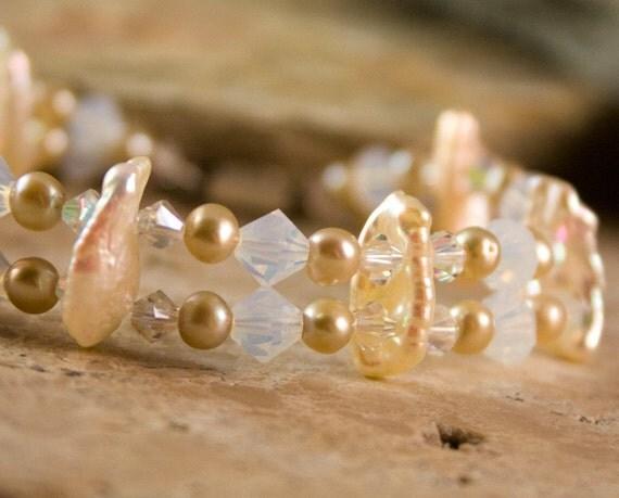 Pearl Crystal Bridal Bracelet Elegant Beach Destination Wedding