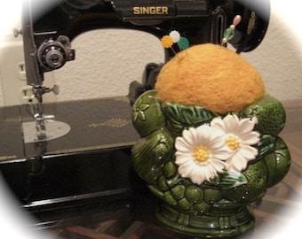 60's Vintage Daisy Vase Pin Cushion  Upcycled / Repurposed   Needle Felted Pincushion Pinkeep