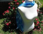 Blue Grace Satin Silk Shibori Scarf