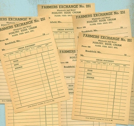 10 FARMER ORDER FORMS Vintage Paper Genuine Free Shipping
