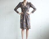 Long Sleeved Dress  - Grey/Mauve with Fan Pattern - Size S