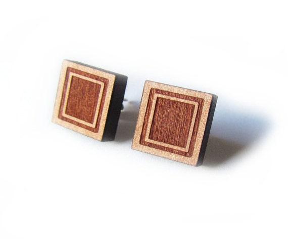 That Vintage Simply Squared - Earrings - Tasmanian Myrtle