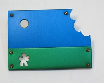 Anodized Aluminum Pin / Brooch - Under the Sun & Clouds