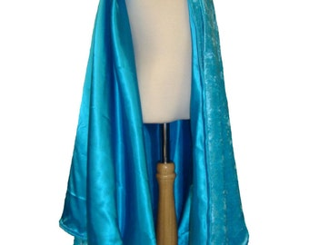 READY TO SHIP -   Turquoise Velvet and Satin Reversible Child's Play Cloak