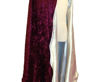 READY TO SHIP -   Maroon Velvet and White Satin Reversible Child's Play Cloak