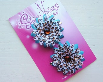 Set of 2 Funky Cheetah and Turquoise Mini Daisy Bling Hair Clips
