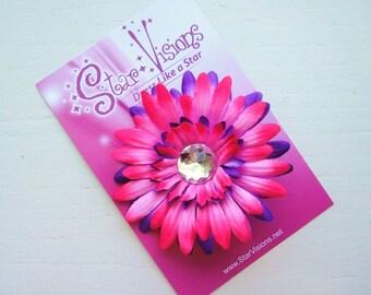 Fuchsia and Purple Gerbera Daisy Bling Hair Clip
