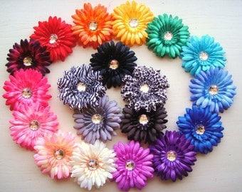 Vibrant Crystal Gerbera Daisy Hair Clip - You Choose Color