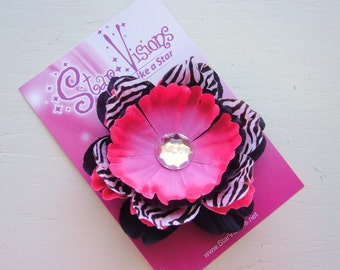 Wild Child - Black, Hot Pink and Zebra Print Peony Flower Hair Clip