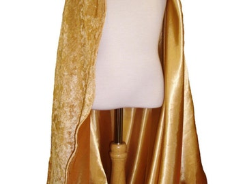 READY TO SHIP -   Gold Velvet and White Satin Reversible Child's Play Cloak