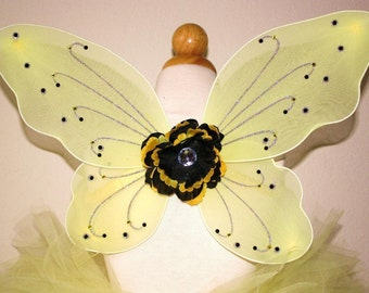 Set of Bumblebee Wings and Matching Peony Flower Hair Clip