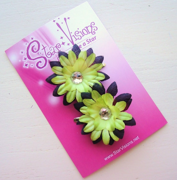CHRISTMAS SPECIAL - Set of 2 Lime and Burgandy Mini Daisy Bling Hair Clips