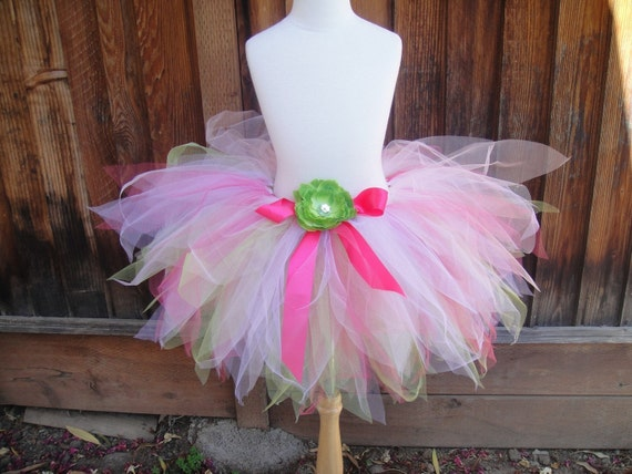 Lime Green and Pink Fairy Costume Set with Matching Leotard, Wand and Hair Clip
