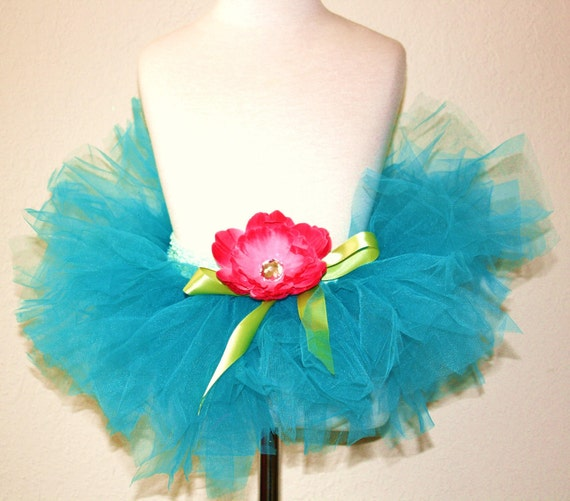 Carribbean Summer Aqua Sewn Tutu With Coordinating Flower Clip - Perfect for Birthdays, Dress Up or Halloween