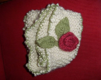 Bloom - knit and crochet scarf, white with kintted flower and leaves - made to order