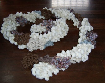 Galaxy - two for one - cream marshmallow knit strand with crochet flower strand in blues, browns and creams - made to order