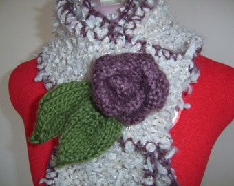 Rose - pale grey knit scarf with plum trim and free, detachable flower brooch - made to order