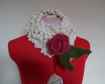 Emma - cream knit skinny scarf with a free, detachable, crimson and green knitted rose brooch - made to order
