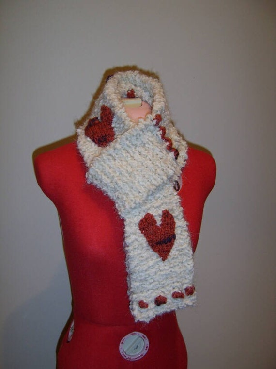 Miss Kitty - knit scarf, cream wool with red/purple hearts and baubles - made to order