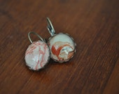 Glass Bubble Earrings Made from Postage Stamps - New Zealand