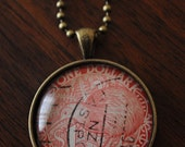 Glass Bubble Pendant Made from Vintage Postage Stamp - New Zealand Kiwi Bird