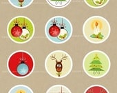 Holiday Circles PNG and JPG printable for cards, scrapbooking,  cupcake toppers