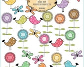 Clip Art  flowers, Butterflies, Birds Clip Art  -  commercial and personal use
