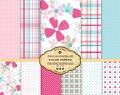 Sugar Digital Paper pack for invites, card making, digital scrapbooking Pink and Blue