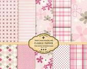Flossie  Pastel Pink Digital Paper pack for invites, card making, digital scrapbooking