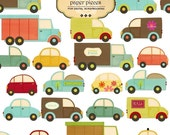 Clip Art Paper Pieced Vehicles, Transport, Cars, Trucks, for digital scrapbooking, invites, cards Commercial andPersonal Use