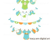 Baby Boy  Clip Art -  Baby Boy Washing Line Clipart - Set 1
