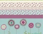 Jewel Clip Art and Digital Paper Design Set Purple Blue flowers