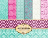 Music Box Digital Paper Pack for scrapbooking, card making, Invites, photo cards