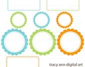 NEW  Clip Art -  Oliver Blue, Lime and Orange  Labels