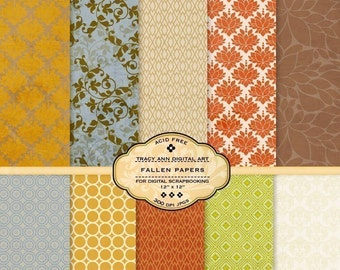 Fallen Digital Scrapbook Paper Set