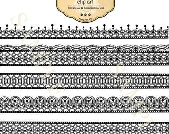 Border Clip Art  Digital Lace Borders Scrapbooking Borders Commercial Clip Art